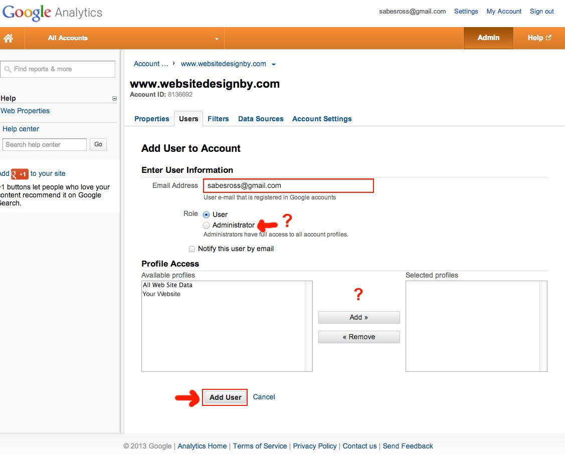 Google Analytics - Enter new admin user information