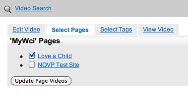 Select Pages for the Video to Appear On